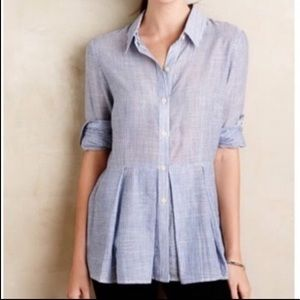 Anthropologie 11-1 Tylho Striped Peplum Shirt